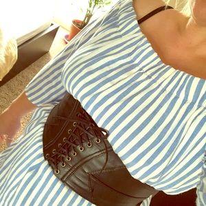 Size large off shoulder striped dress - sleeveless